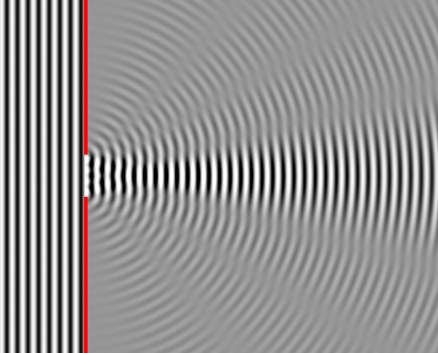 Image of Wave Diffraction around Sharp Edges